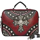 "16"" Western Biker Studded Cross Padded Laptop Computer Case"