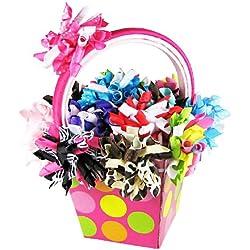 HipGirl Boutique 25pc Korker Hair Bow Alligator Clips / Barrettes and Crochet Headbands Gift Basket