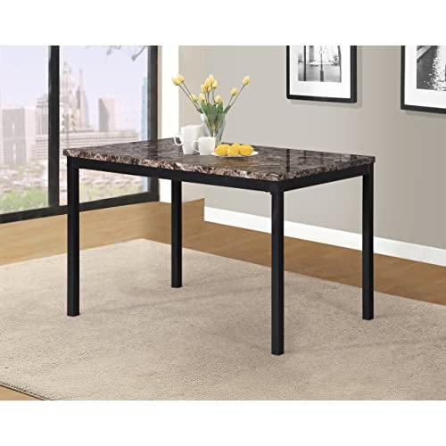 Roundhill Furniture T007 Noyes Metal Dining Table with Laminated Faux Marble Top
