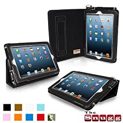Snugg iPad Mini Leather Case Cover and Flip Stand (Black)