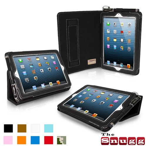 Snugg Ipad Mini Leather Case Cover And Flip Stand Elastic Hand