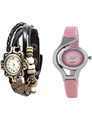 Krazykart Black,Pink Butterfly Analog Watch - For,Women,Girls