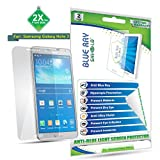 Blue Ray Shield - Anti Blue Light Screen Protector for Samsung Galaxy Note 3-(2X for Front Side) UV Filter HD Clear Anti Scratch Guard Film - Saves your Eyesight from Harmful UV Ray and Blue Light - Prevents Eye Irritation, Melanin, Pigmentation - Comes with Lifetime warranty
