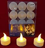 Creative Co-op 12 Battery Operated AMBER LED Tealight Candles Flameless Heatless No Heat Candle Flickering Wickless