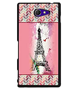 PRINTVISA Effeal Tower with pattern Premium Metallic Insert Back Case Cover for Sony Xperia M2 - D5814