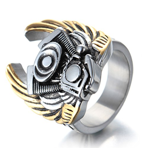Men's Stainless Steel Biker Ring Motorcycle Engine with Wings Silver Gold