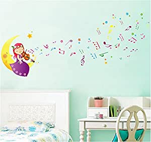 ufengke sch ne kleine m dchen die spielen musik auf der mondkarikatur diy wandsticker. Black Bedroom Furniture Sets. Home Design Ideas