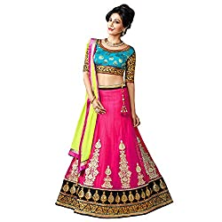 Resham Fabrics Pink Net Embroidered Semi Stitched Lehenga Choli