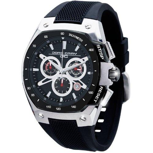 Jorg Gray JG8300-23 - Reloj cronógrafo de cuarzo para hombre con correa de silicona, color negro