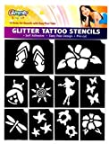 Glimmer Body Art Hibiscus Luau Glitter Tattoo Stencil Set