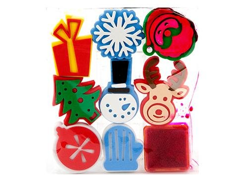 new-christmas-foam-stamp-set-8-shapes-stamping-stamper-with-ink-pad-santa-tree-snowflake-baubles-rei