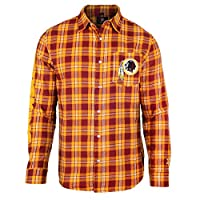 KLEW NFL Washington Redskins Wordmark Basic Flannel Shirt, Large, Red from Team Beans, LLC