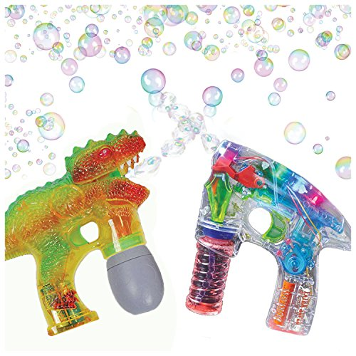 Bubble Blasters Shooter Guns by ArtCreativity - Pack of 2, includes 1 Dinosaur Shooter Gun with Exciting Sound Effects and 1 Transparent LED Gun. Battery Operated - For Age 5+ - Best Gift for Kids (Frog Juice Game compare prices)