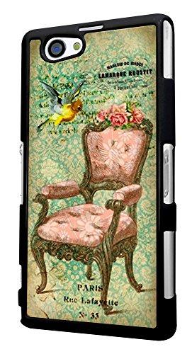 534 - Vintage Shabby Chic Victorian Sofa Bird Floral Roses Design für Alle Sony Xperia Z / Sony Xperia Z1 / Sony Xperia Z2 / Sony Xperia Z3 / Sony Xperia Z4 / Sony Xperia Z1 Compact / Sony Xperia Z2 Compact / Sony Xperia Z3 Compact / Sony Xperia Z4 Compact / Sony Xperia M2 / Sony Xperia M4 Fashion Trend Hülle Schutzhülle Case Cover Metall und Kunststoff - Bitte wählen Sie Ihr Telefonmodell und Farbe aus der Dropbox