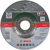 Bosch 2609256334 Assortiment de disques à tronçonner à moyeu déporté pour Matériaux Diamètre 115 mm Diamètre d'alésage 22,23 Epaisseur 2,5 mm 5 disques