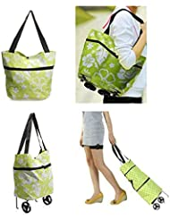 Reusable Folding Trolley Bag Large Oxford Cloth Grocery Cart Shopping Tote Bag HandBag With Wheels