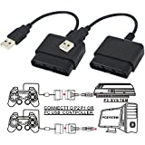 StyleZ 2 Pcs PlayStation 2 Controller to USB Adapter for PC or Playstation 3 Converter Cable for Sony DualShock PS2 Controllers (Color: Black, Tamaño: Medium)