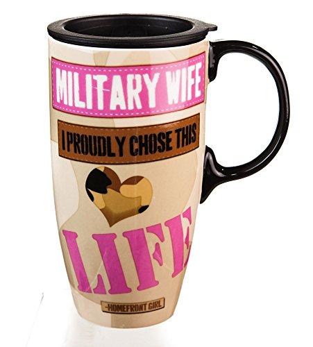 Military Wife Ceramic Travel Coffee Mug With Gift Box