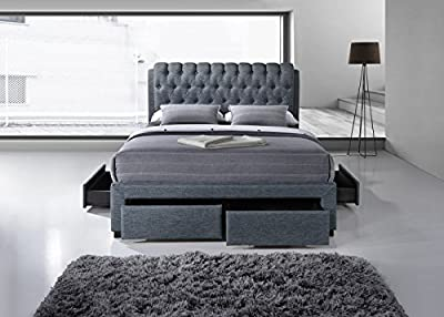 Fabric grey 4 drawer storage bed - 5ft Kingsize - Buttoned headboard