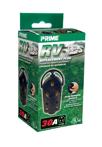 Prime RVPLUG RV Replacement Plug, 30 Amp Male Receptacle End Replacement with Handle, Black
