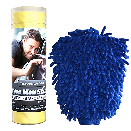 Man Sham Wash Mitt and Original Chamois Car Care Kit Great for Auto Detailing (Automotive Care compare prices)