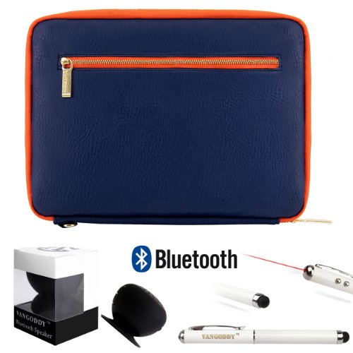 Irista Carrying Leather Sleeve (Midnight Blue, Orange) For Toshiba Encore Wt8 8-Inch Tablet (Wt8-A32, Wt8-A64) + Bluetooth Suction Speaker + Stylus