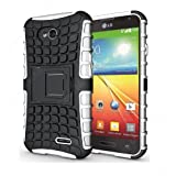 Heartly Flip Kick Stand Spider Hard Dual Armor Hybrid Bumper Back Case Cover For LG L70 D325 Dual Sim - Back White...