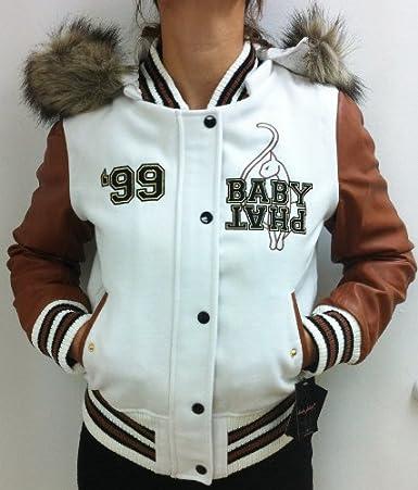 ee2385ae7dd0 Baby Phat Varsity Wool Bomber Jacket Style 1371bp White cognac ...
