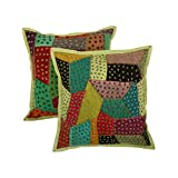 Cultural Set Of 2 Cushion Cover Floral Green 17 X 17 Cotton Pillow Cases