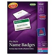 Badge Holder Kit w/Laser/Inkjet Insert, Top Load, 2 1/4 x 3 1/2, White, 100/BX