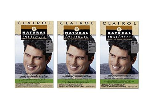 Clairol Natural Instincts Hair Color For Men M19 Black 1 Kit (Pack of 3)