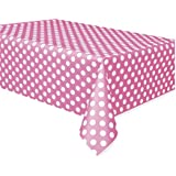 Unique Industries 50265 Plastic Tablecover, 54 by 108-Inch, Hot Pink Decorative Dots