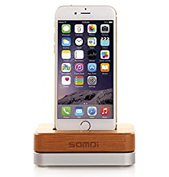 eimolife® Bamboo Wooden Aluminum Charger Dock Tray Stand Charging Station For Apple iPhone 6 Plus 5S 5C 4S Wooden Phone Stands Data Cable (Silver)