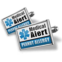 """Neonblond Cufflinks Medical Alert Blue """"Peanut Allergy"""" - cuff links for man by NEONBLOND Jewelry & Accessories"""