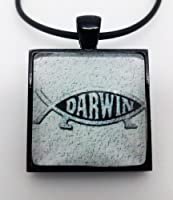 Atheist, Darwin, Square Pendant Necklace