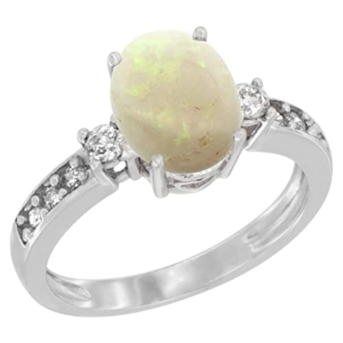 Revoni 14ct White Gold Natural Opal Ring Oval 9x7 mm Diamond Accent