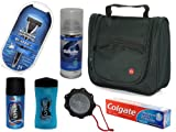 Premium Mens Toiletry Bag Prepacked Travel Wash bag ***LYNX Deodorant*LYNX Shower Gel*LYNX Man washer*Gillette Shaving Gel*Wilkinson Sword Razor*Colgate Toothpaste*** (Premium)
