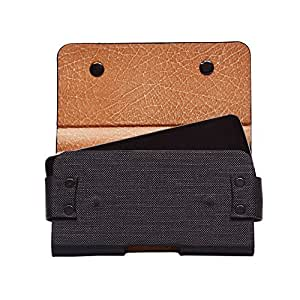Colorkart Men's Waist Belt Holster Case Pouch Bag For Wiko U Feel Prime Mobile Phone (Synthetic Leather, Black)