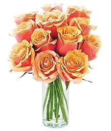 12 Fresh Cut Orange Roses with Vase by KaBloom