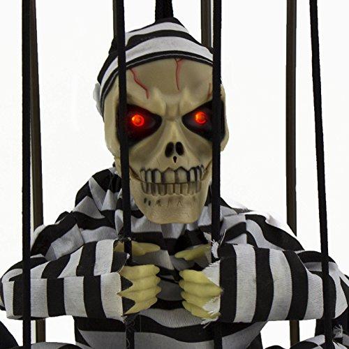 Halloween Haunted House Motion Sensor Light Up Talking Skeleton Prisoner Cage (Haunted House Ideas For Halloween Party)