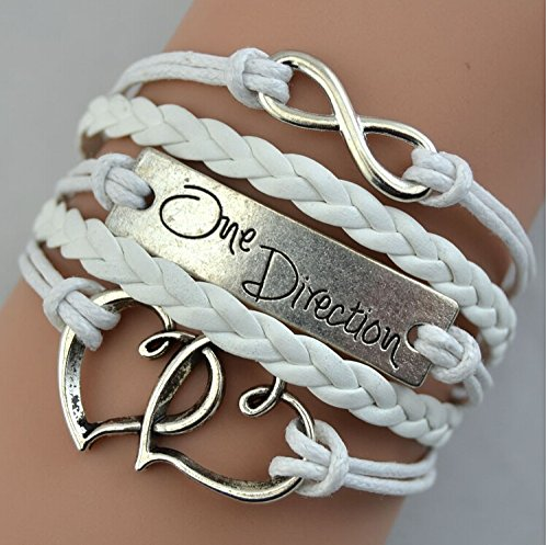 EmBest White Leather Braid Fit Double Hearts Alloy One Direction Bracelet Wraps infinity bracelet (Bracelets One Direction compare prices)