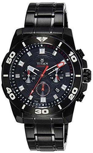 Titan Men's Octane Aw Analog Black Dial Watch