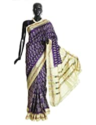 Purple Pochampally Silk Saree with Off-White Ikat Design All-Over, Border and Pallu - Silk