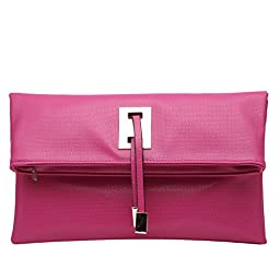 Abshoo Women Clutch Purse Evening Faux Leather Clutch Bags (Rose Red)