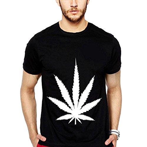 iLyk Mens Marijuana Printed T-Shirt (10811_Black_X-Large)