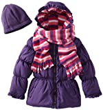 Pink Platinum Toddler 2-4T Girls Purple Stripe Puffer Jacket/Coat Scraf & Hat