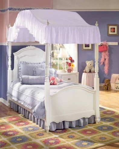 Lavender Purple Twin Sized Canopy Bed Fabric Top