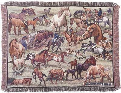 "Horses Horse Theme Collage Tapestry Throw 50"" X 60"" front-896348"