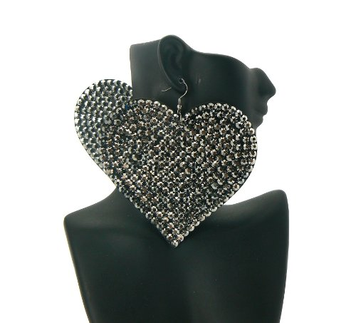 Black Heart Poparazzi Iced Out Light Weight Basketball Wives Earrings Lady Gaga Paparazzi