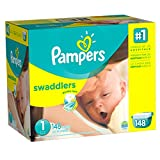Pampers Swaddlers Diapers, Size 1, Giant Pack, 148 Count